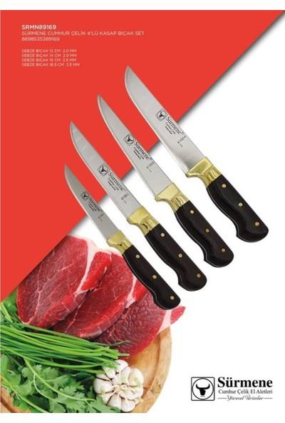 Sürmene Mutfak Bıçak Seti 4' Lü Deri Kılıflı