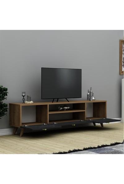 Hepsi Home Ela Tv Ünitesi - Ceviz Siyah Mermer
