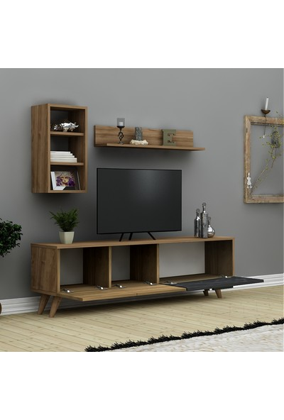 Hepsi Home Frenze Tv Ünitesi - Ceviz Siyah Mermer