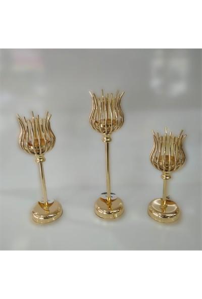 Arın Home 3'lü Metal Lale Şamdan Gold