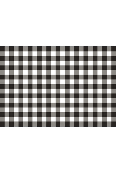 Beyaz Martı Çift Taraflı 6'lı Amerikan Servis Takımı Siyah Pembe Kareli Desenli Arkalı Önlü