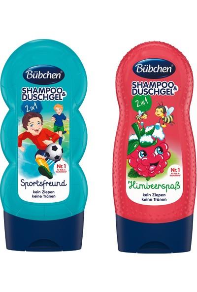 Bübchen Sport Çocuk Şampuanı ve Duş Jeli 230 ml + Bübchen Çocuk Şampuan Duş Jeli Frambuaz 230 ml