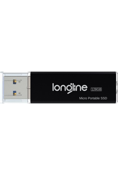 Longline Micro Portable 128GB USB SSD Flash Bellek Siyah 550/500MB/SN Okuma Yazma