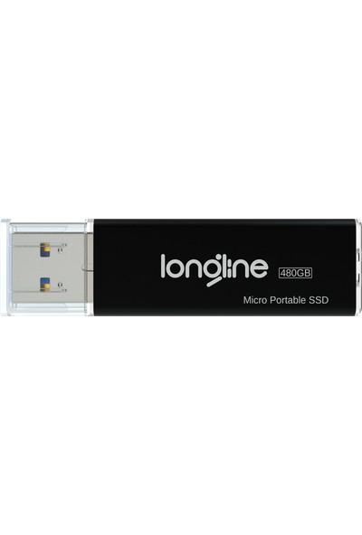 Longline Micro Portable 480GB USB SSD Flash Bellek Siyah 550/500MB/SN Okuma Yazma