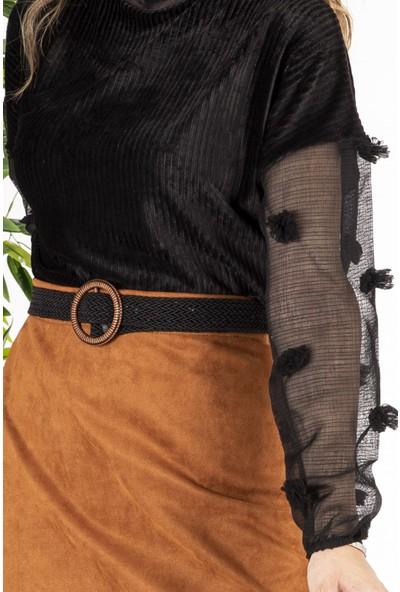 Melinka Butik Tasarım Kollu Bluz - Siyah
