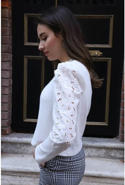 Melinka Butik Tasarım Kollu Bluz - Beyaz