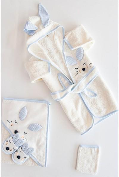 Gaye Bebe 834 Erkek Bebek Pamuklu Havlu Bornoz Takımı