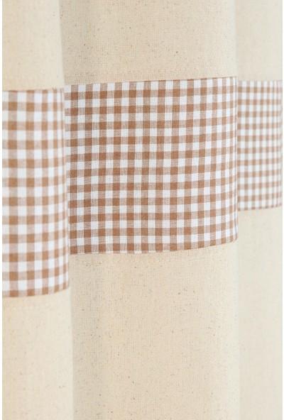 Bedinn Naturel Perde Kornişli Vintage Kahve 200X185 cm
