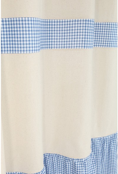 Bedinn Naturel Perde Kornişli Vintage Mavi 200X185 cm