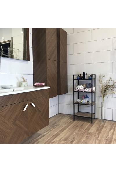Mudesa Metal - Ahşap Dekoratif Açık Banyo Dolabı Havluluk Sabunluk Çok Amaçlı Raf