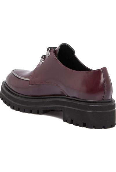 Tergan Bordo Deri Kadın Ayakkabı 63985A36