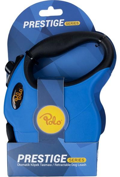 Polo Prestige Makaralı Otomatik Tasma L 5 Metre - 50 kg Mavi - Siyah