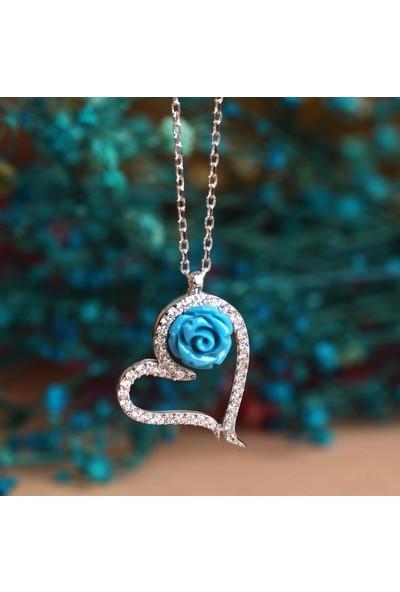 Takılingo 925 Ayar Gümüş Kadın Kalpli Mavi Gül Kolye Gümüş Renk