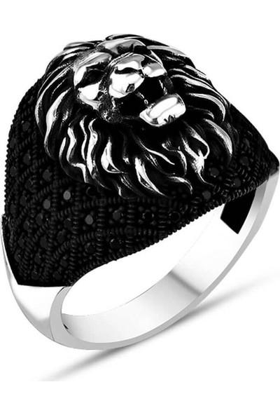 Takılingo 925 Ayar Gümüş Siyah Mikro Taşlı Kükreyen Aslan Erkek Yüzük