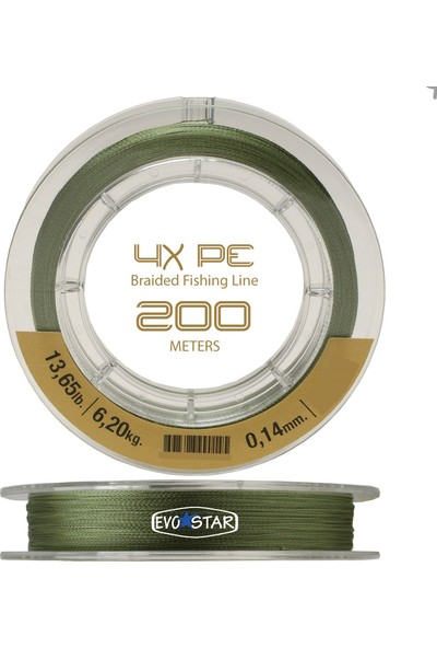 Evostar 4 Kat Örgü Pe Ip Misina 200M (0.10-0.28MM Arası) Yeşil - 0.20MM
