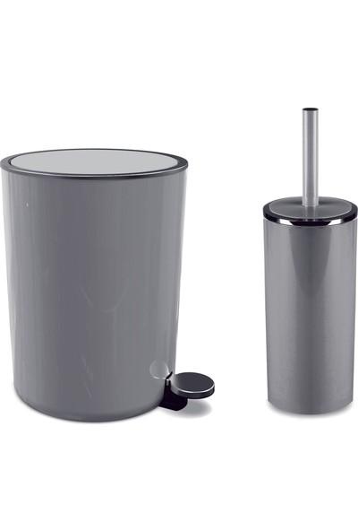 Primanova Lenox Pedallı Çöp Kovası Lenox Tuvalet Fırçası Seti Gri