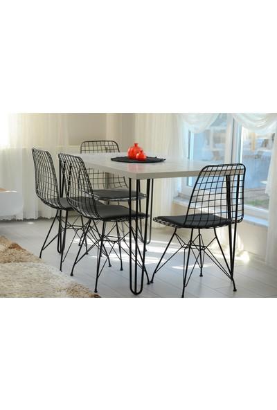 Yemek Masası Mutfak Masası Beyaz Mermer Desenli Tek Masa 120 x 80 cm
