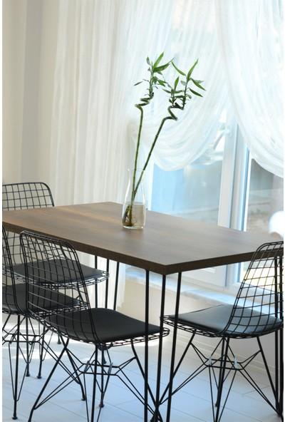 Yemek Masası Mutfak Masası Barok Kahve Desenli Tek Masa 120 x 80 cm