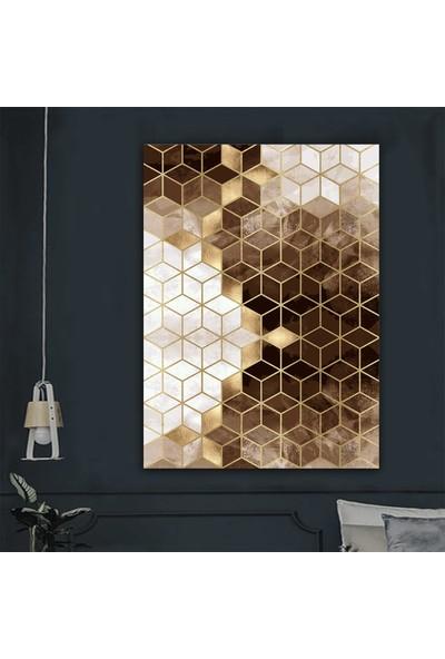 Ören Petek Desen Kahverengi Gold Renk Dijital Kaymaz Termal Taban Halı