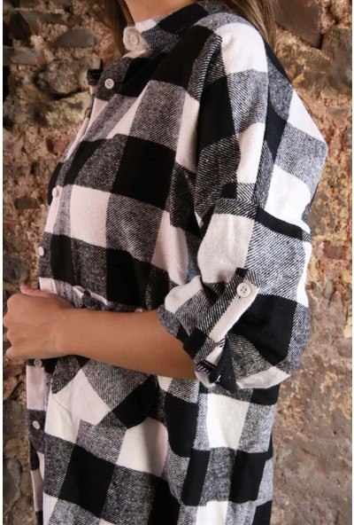 Melinka Butik Ekose Oduncu Gömlek - Siyah