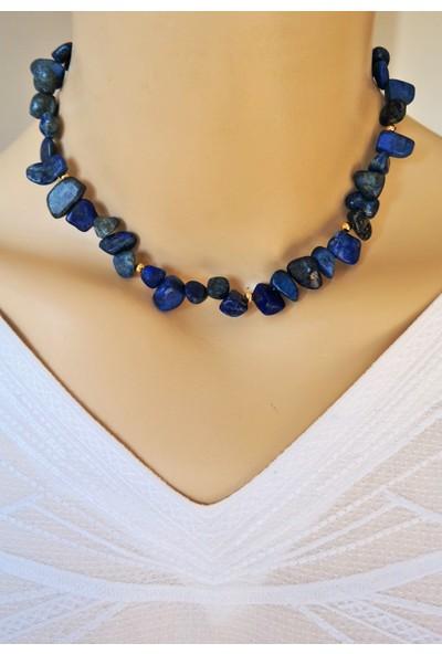 Dizayn Cam Mavi Lapis Lazuli Doğaltaş Tasarım Kolye