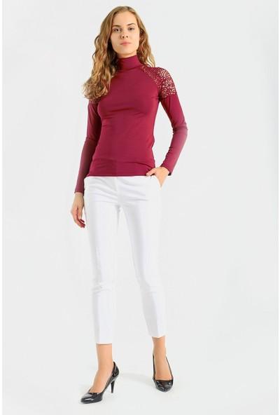 Jument Kadın Dantel Detaylı Yarım Balıkçı Uzun Kol Ince Kumaş Şık Bluz-Bordo XL