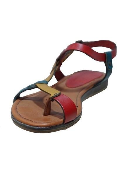 Ustalar Ayakkabı Çok Renkli Deri Kadın Sandalet 087.1460