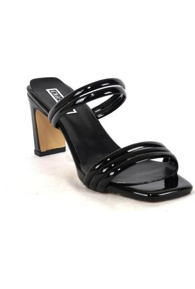 Ustalar Ayakkabı Siyah Kadın Rugan Topuklu Terlik