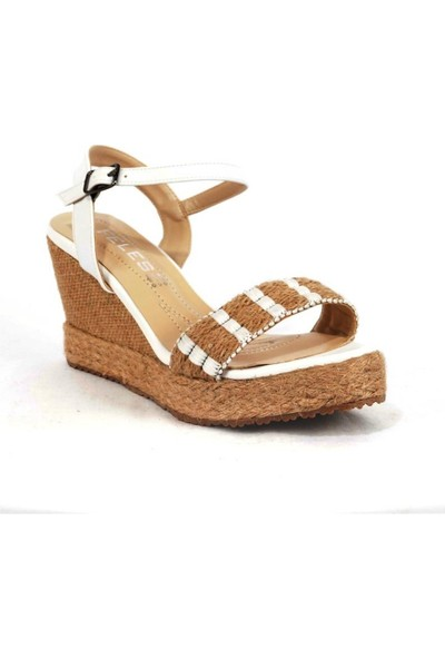 Ustalar Ayakkabı Beyaz Kadın Dolgu Sandalet 319.02504
