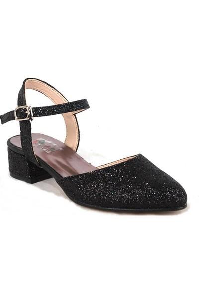 Ustalar Ayakkabı Siyah Kız Çocuk Topuklu Ayakkabı 051