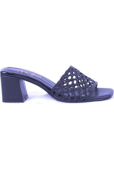 Ustalar Ayakkabı Siyah Kadın Topuklu Terlik 036.2153