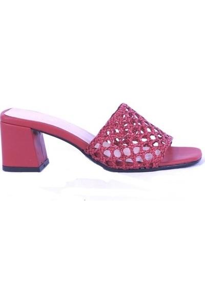 Ustalar Ayakkabı Kırmızı Kadın Topuklu Terlik 036.2153