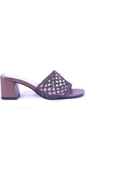 Ustalar Ayakkabı Bakır Kadın Topuklu Terlik 036.2153