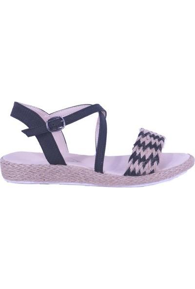 Ustalar Ayakkabı Siyah Kadın Hasır Sandalet 068.393