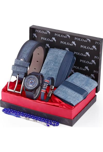 Polo Air Erkek Kol Saati ve Cüzdan Kemer Anahtarlık Bileklik Kombini PL-0097E2