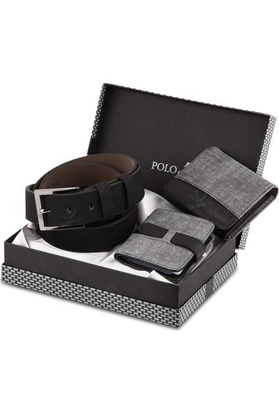 Polo Air Erkek Kol Saati ve Cüzdan Kemer Anahtarlık Bileklik Kombini PL-0391E4