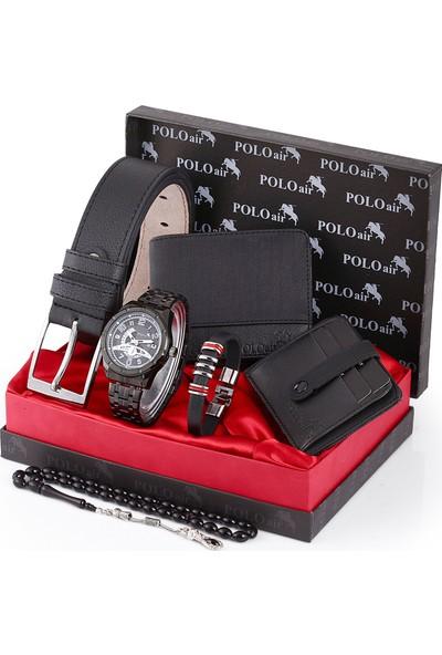Polo Air Erkek Kol Saati ve Cüzdan Kemer Anahtarlık Bileklik Kombini PL-0110E1
