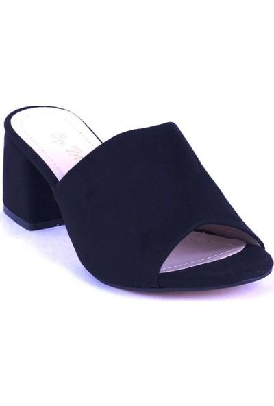 Ustalar Ayakkabı Siyah Süet Kadın Topuklu Terlik 535.2021