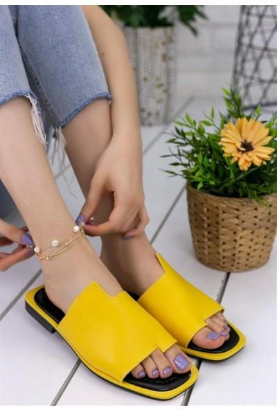 Ustalar Ayakkabı Sarı Kadın Günlük Parmakrası Terlik 537.31