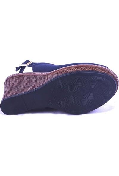 Ustalar Ayakkabı Lacivert Kadın Dolgu Topuk Sandalet 494.407