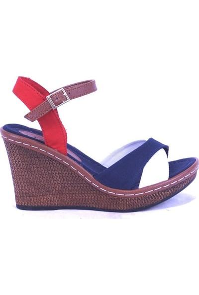 Ustalar Ayakkabı Lacivert-Beyaz Kadın Dolgu Sandalet 494.402