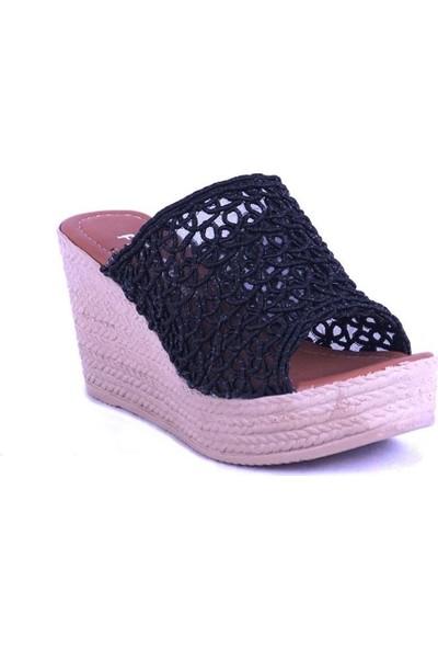 Ustalar Ayakkabı Siyah Kadın Dolgu Terlik 319.01.A1