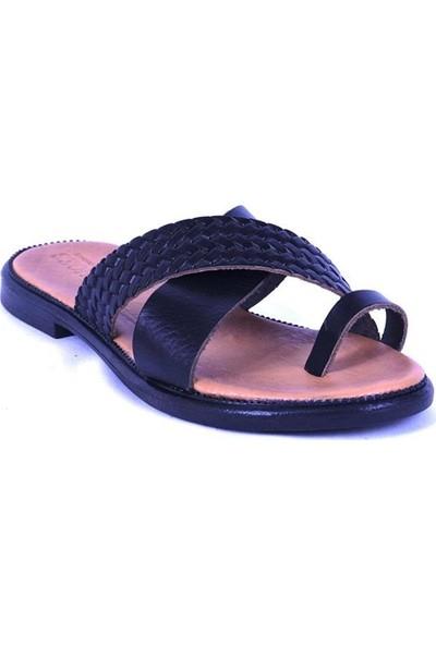 Ustalar Ayakkabı Siyah Kadın Parmak Arası Terlik 539.01