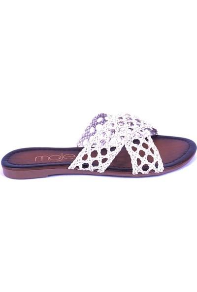 Ustalar Ayakkabı Kırık Beyaz Kadın Terlik 036.7154