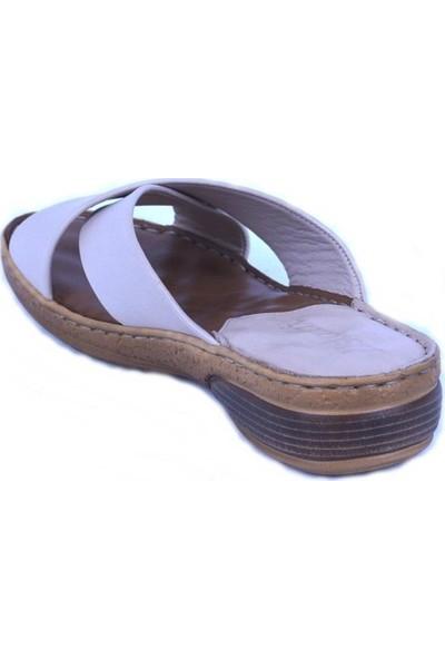 Ustalar Ayakkabı Bej Deri Kadın Terlik 213.515