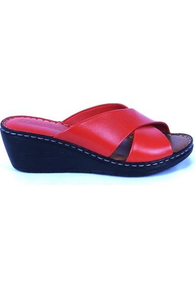 Ustalar Ayakkabı Kırmızı Deri Kadın Terlik 213.072
