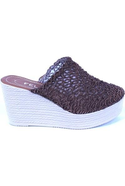 Ustalar Ayakkabı Kahverengi Kadın Dolgu Terlik 319.01.B1