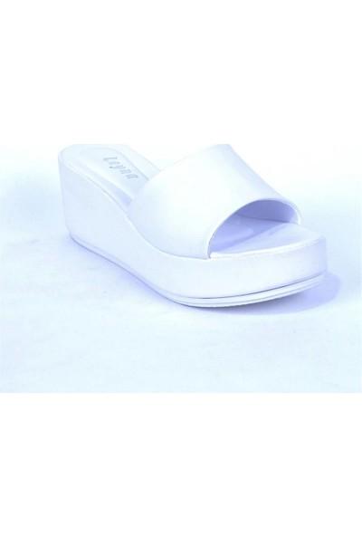 Ustalar Ayakkabı Beyaz Kadın Dolgu Topuklu Terlik 542.2023