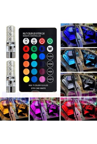Kelvin T10 Çakarlı Kumandalı Araç Park Ampulü 18 LED Pilli ( 2 Adet)