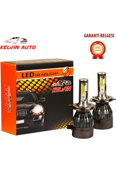 Kelvin H4 LED Xenon Far Ampul Şimşek Etkili Beyaz Güçlü Far